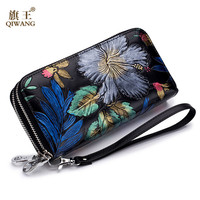 Qiwang Genuine Leather Wallet Women Zipper Closure Womens Wallets And Purses Long Wallets Coin Pocket Embroidery Wallet Women