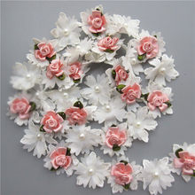 e9d260222ed11 1 Yard White and Pink Pearl Rose Flower Embroidered Lace Trim Ribbon Fabric  Handmade Sewing Craft For Costume Hat Shoes Decor