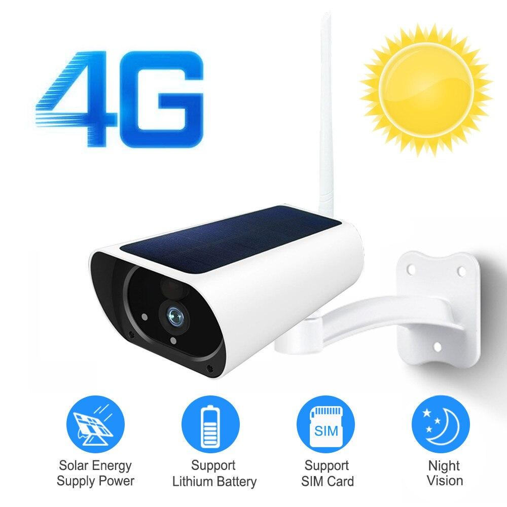 1080P Câmera IP de Vigilância Solar 3G 4G Cartão SIM Wi-fi Sem Fio Ao Ar Livre Câmera de Segurança Suporte de Áudio Bateria PIR Movimento de carga