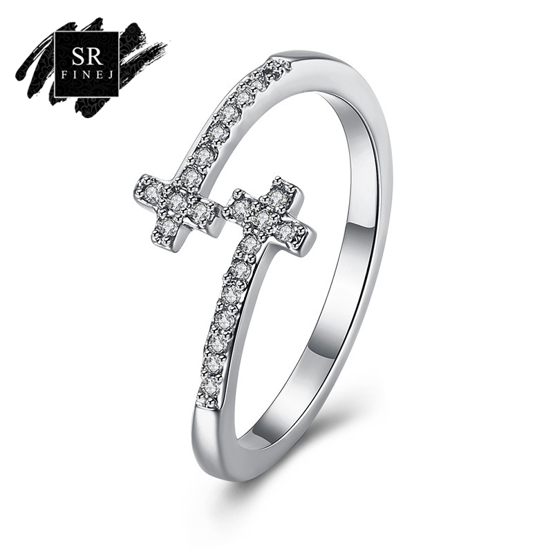 SR:FINEJ Beautiful Open Cuff Silver Color Ring Wedding Double Cross Design Women Crystal CZ Finger Rings Engagement Jewelry