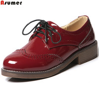 ASUMER Black Wine Red Beige Fashion New Arrive Women Pumps Round Toe Lace Up Ladies Shoes