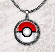 2017 New Silver Chain Pokemon Inspired Pendant Round Pokeball Necklace Anime Jewelry Glass Dome Picture Necklaces Pendants