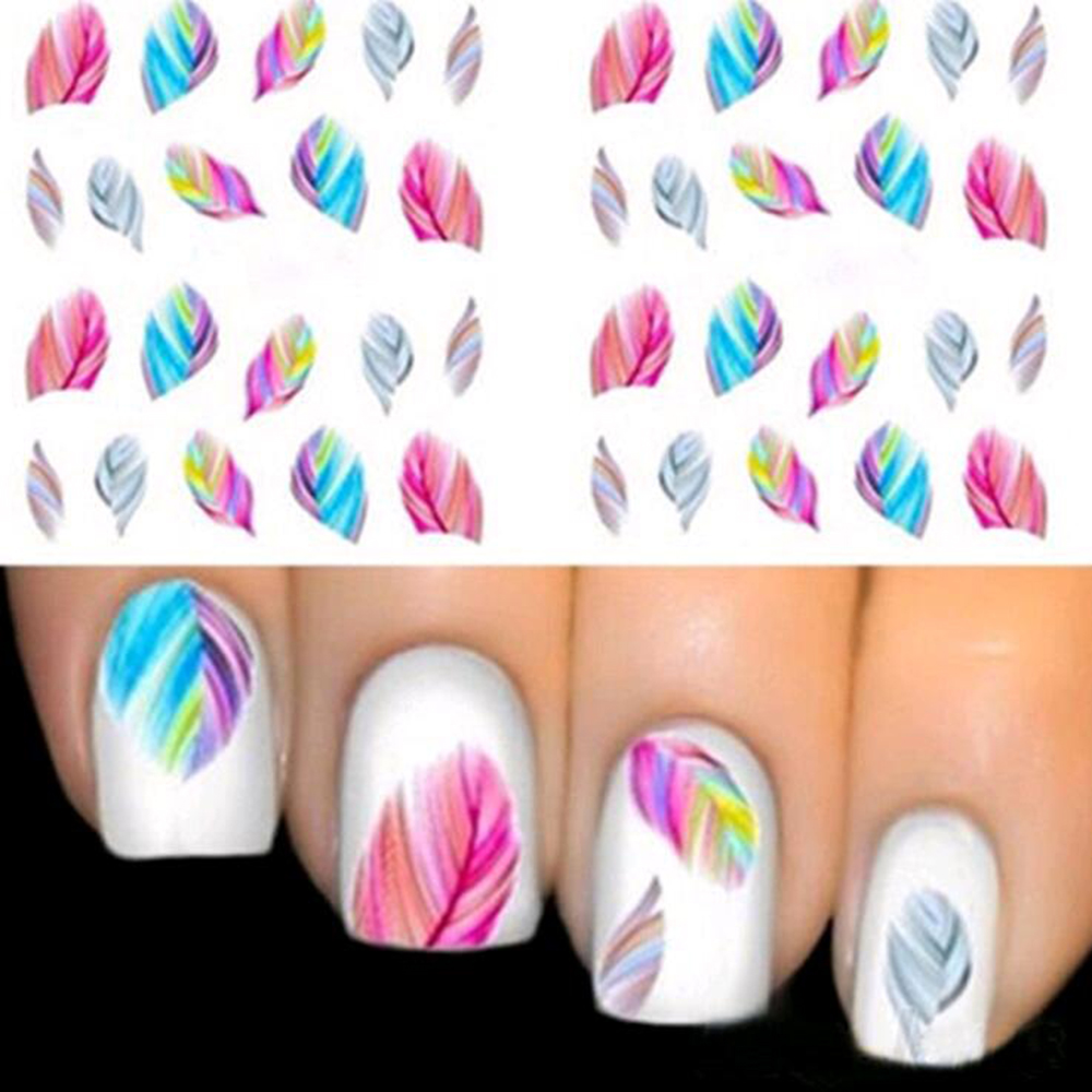 0.14$ /1 pc, Fashionable Nail Decorations Art Tips Feather Water Transfers Nail Sticker for Ladies Feather Decals nail art tools