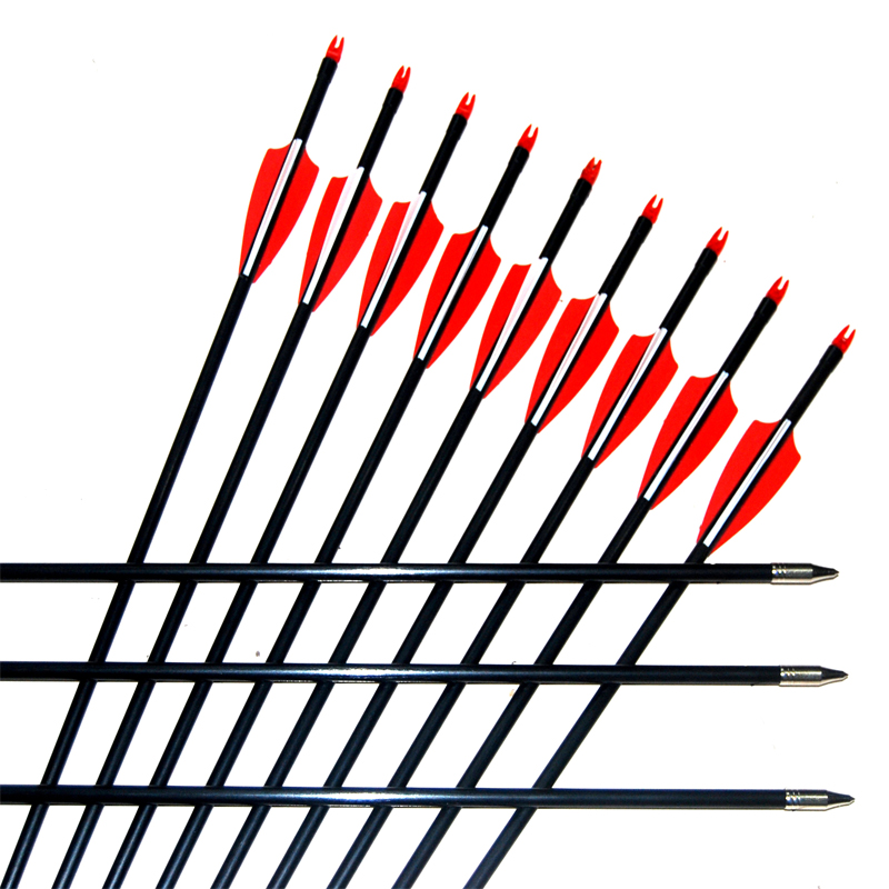 24PCS lot Fiberglass Arrow 32 28 Archery Hunter Nocks Fletched Arrows With Steel Point For 30