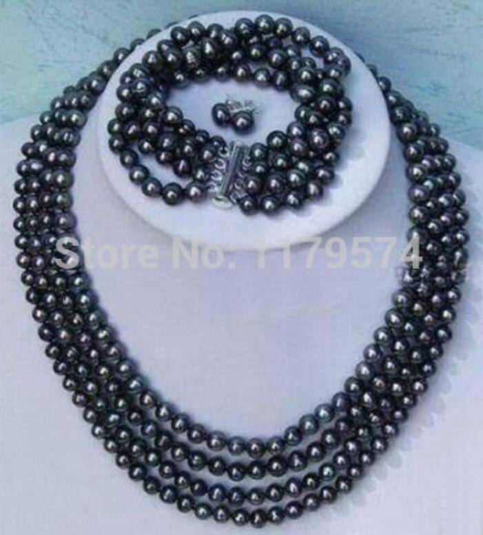 Hot nouveau style de mode plus noble 4 rangées 6-7mm noir perle shell collier bracelet boucles d'oreilles ensembles de bijoux cadeaux de la fête des mères W0172