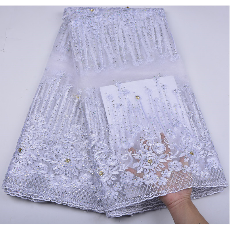 Lovely Latest African Lace Fabric 2018 Pure White Embroidery Stones Lace Fabric Bridal Wedding French Mesh