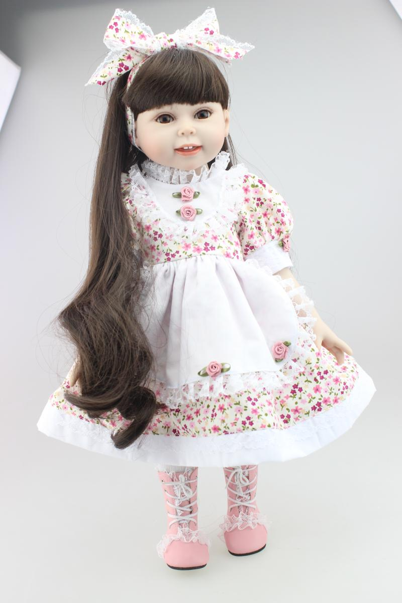45cm girl bebe reborn Brown long straight hair Dolls AMERICAN Reborn Baby dolls full handmade newborn baby doll baby toys girls 22 inches sweet girl dolls brown hair 55cm doll reborn baby lovely toys cute birthday gift for girls as american girl