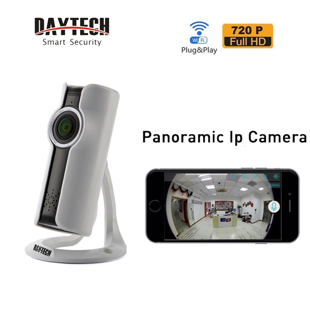 DAYTECH IP Panoramic Camera WiFi 720P HD Home Security Wireless Network Video Baby Monitor P2P Two Way Audio Night Vision IR 180 new wifi ip camera home security camera wireless 720p night vision infrared two way audio baby camera monitor video webcam