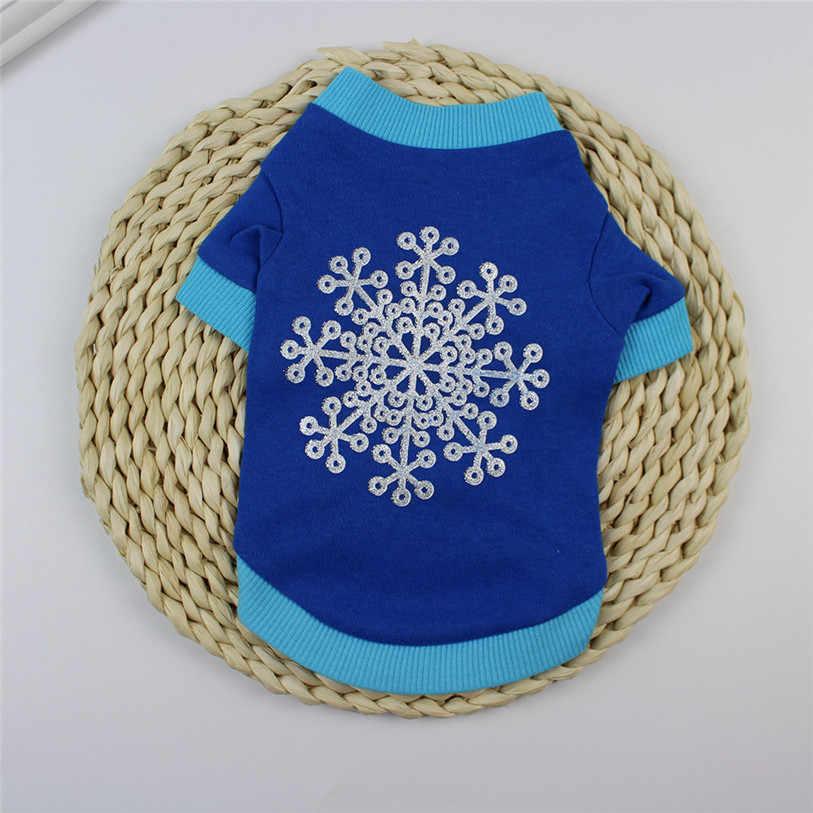 Herbst/Winter Kleidung Für Hunde Katzen XS-L Snowflake Drucken Mantel Hund Pullover Weihnachten T-shirt Chihuahua Kleidung Großhandel 40DC4