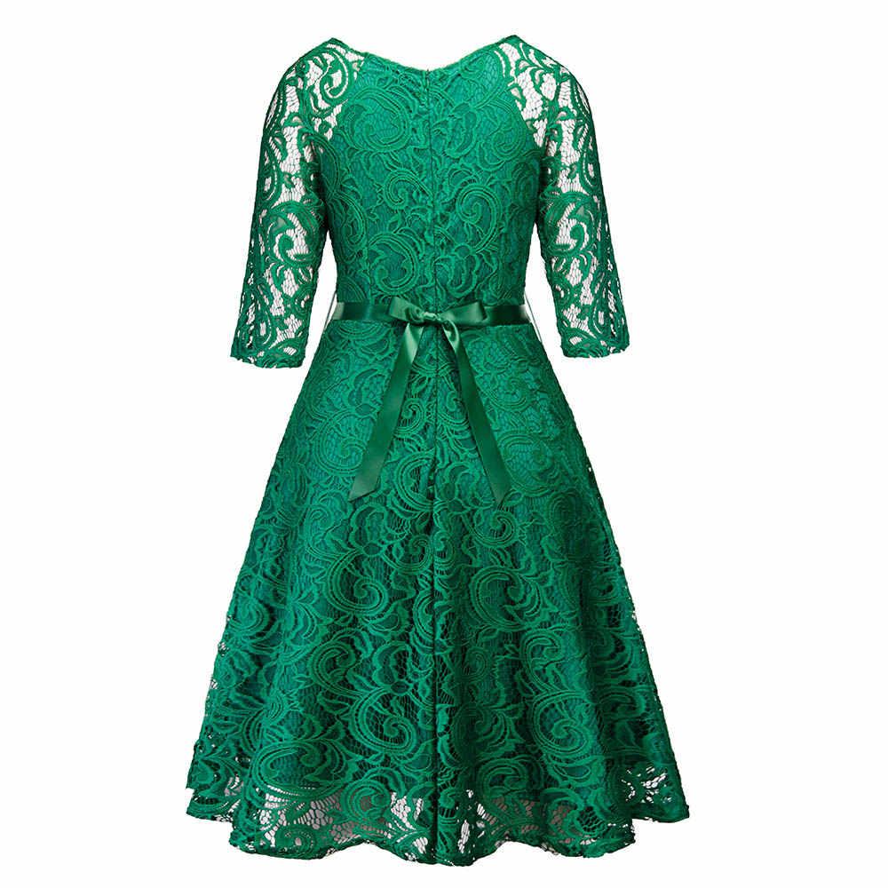 Женское вечернее платье в стиле ретро, готический, черный, темно-синий, зеленый, цветочное кружевное платье с бантом, лентой, поясом, весенне-летние рабочие платья