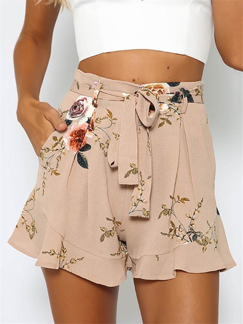 New 2020 summer hot shorts women floral print short femme styleloose belt casual thin mid casual short women's plus size