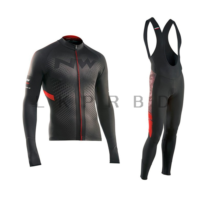 2018 Pro NW Team Cycling Jersey Quick Dry Long Sleeve Jerseys And Cycling Bib Pants Set Cycling Clothes Breathable 9D GEL 3d silicone cube 2012 team long sleeve autumn bib cycling wear clothes bicycle bike riding cycling jerseys bib pants set