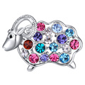 Women Brooches Sheep Brooch Pins Austrian Crystal Rhodium Plated Girls Jewelry Display 4 Options Available