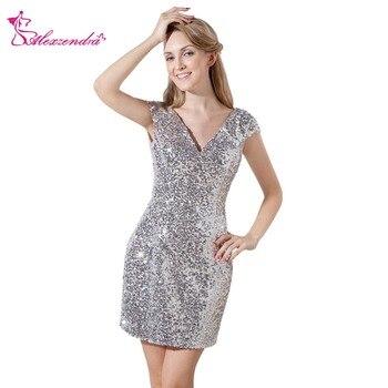 Alexzendra Silver Double V Neck Cap Sleeves Straight Mini Prom Dresses Simple Party Dresses Plus Size