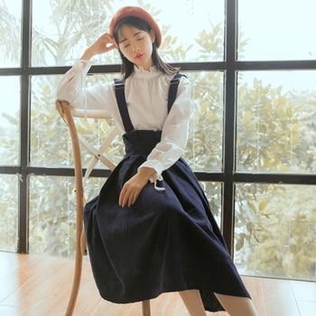 Mori Girl Autumn Winter Women Dress Spaghetti Strap Loose Casual Female Vestidos Elegant Corduroy Sweet Lady Sundress girl