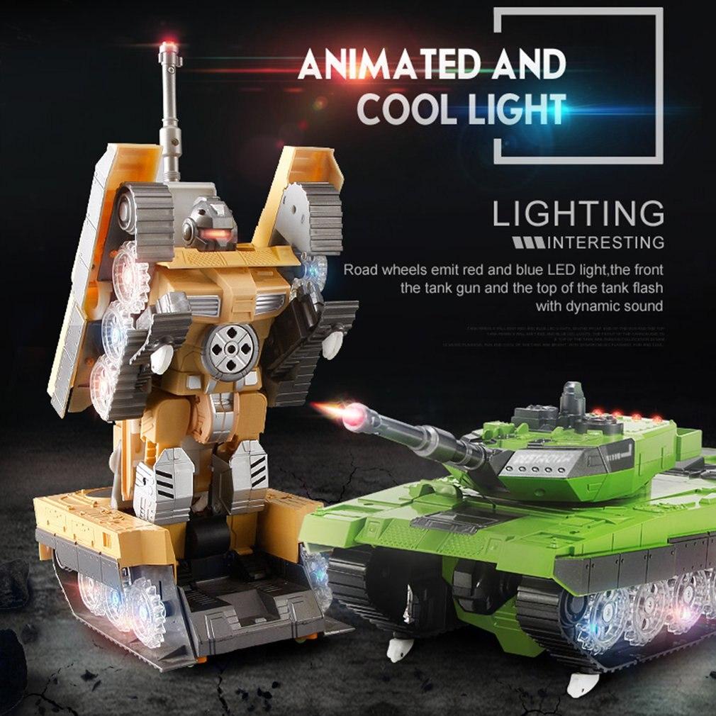 2.4G télécommande réservoir Simulation héroïque terre bataille réservoir modèle une clé Conversion Robot automatique véhicule jouets pour garçon cadeau