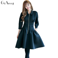 2017 Autumn And Winter New Women S A Line Dress Turn Down Collar Zipper Jacket Dress