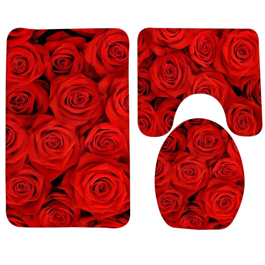 3 pcs Conjunto Rosa Vermelha Flores Tapete Do Banheiro Tapete de Banho Casa de Banho Antiderrapante Tapete de banho com Duche e Wc Mat Conjuntos