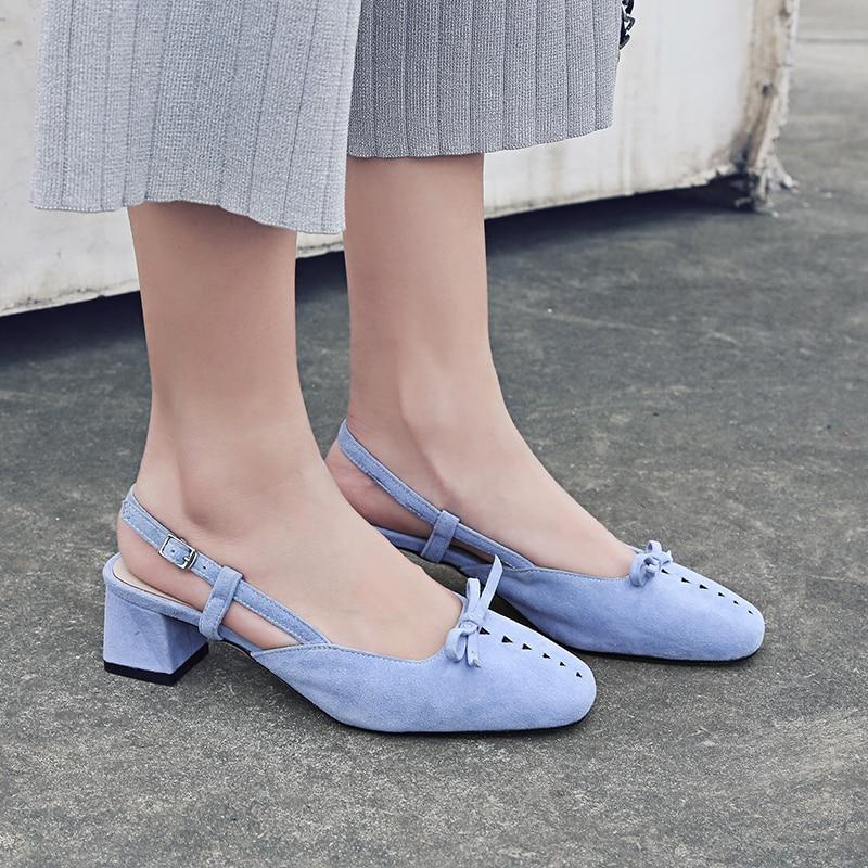 WETKISS Women Summer Med Heel Sandals Square Toe Butterflt Knot Footwear 2018 Brand Buckle Back Strap Cutout Ladies Dress Shoes mixed print colorblock knot back halter dress
