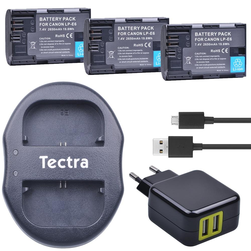 3 x LP-E6 LP E6 LP-E6N Li-Ion Bateria + USB Caricatore Doppio + Alimentatore per Canon EOS 5D 5D Mark II, Mark III 6D 7D 60D 60Da 70D 80D