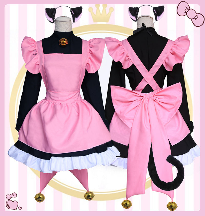 Anime Card Captor Kinomoto Sakura Cat Ear Apron Dress Cosplay Costume Cardcaptor Full Set Lolita Maid Uniform