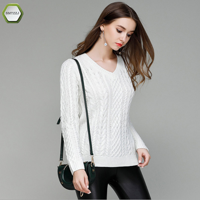SMTZZJ 2018 Autumn Spring V Neck Sweater Women Simple Design Grey White Thin Tricot Women Sweater Pullover Female Jumper Tops