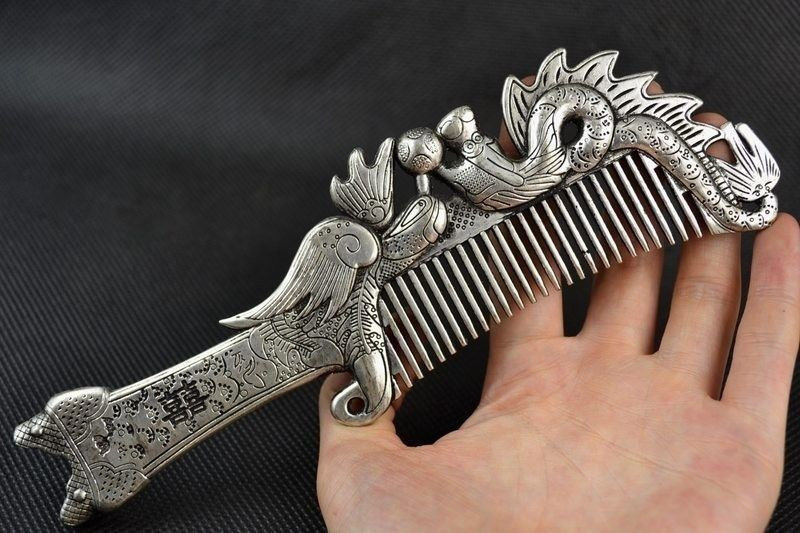 Collectibles Old Decorated Handwork Miao Silver Carving Dragon Phoenix Comb.|Statues & Sculptures| |  - title=