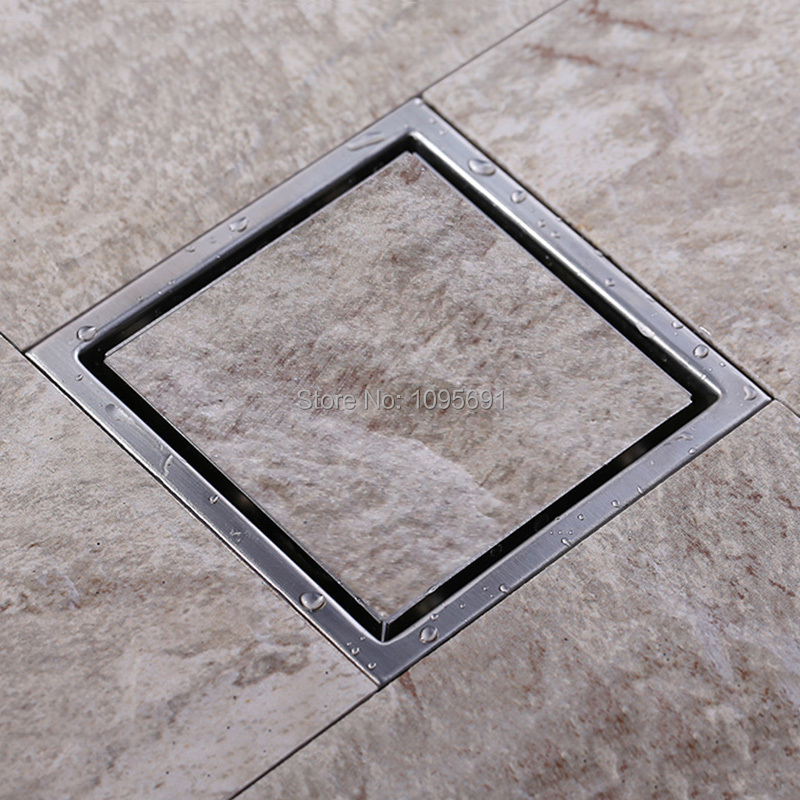 ФОТО Tile Insert Square Floor Waste Grates Bathroom Shower Drain 110 x 110 MM-T623