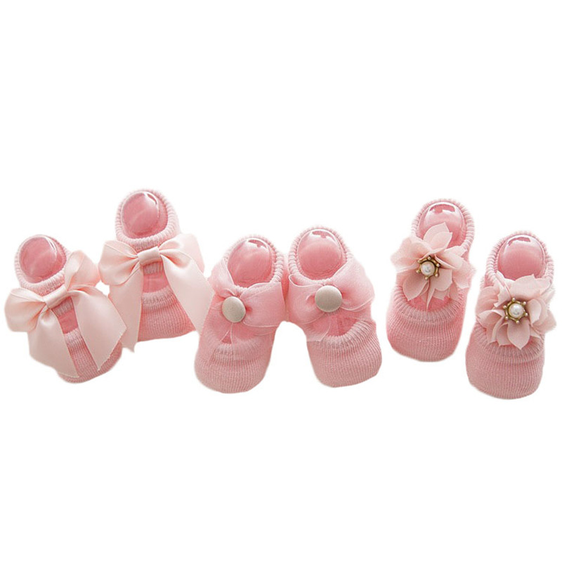 Lawadka Baby Socks Newborn Lace Socks Baby Girls Flower Bow Cute Toddlers Short Socks Summer Anti Slip Socks 3 Pairs/lot