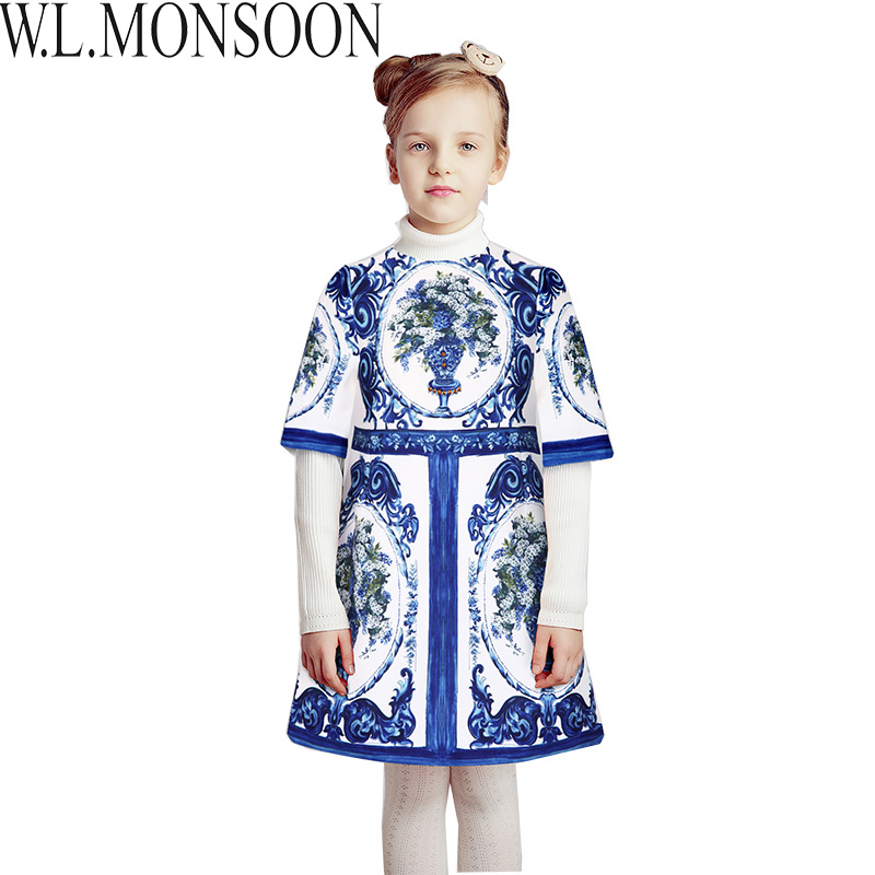 W.L.MONSOON Princess Dress Christmas Clothes 2017 Brand Toddler Girls Dresses Kids Clothing Floral Print Children Winter Dress girls dresses winter 2017 brand children dress princess costumechild dog cat house print pattern kids dresses for girls clothes