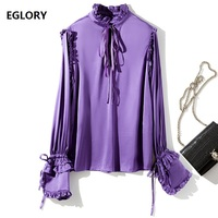 High Quality Blouse Shirt 2018 Autumn Spring Blouses Women Ruffled Collar Petal Sleeve Purple Apricot Shirt Solid Chiffon Blouse