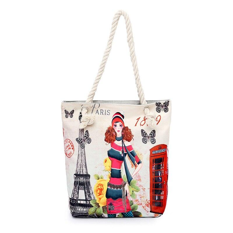 9d3fbd9e660d US $14.63 |MANJIANGHONG Women Canvas Beach Bag Paris Tower Printed Female  Shoulder Bags For Girls Single Shopping Bag Top Handle Bags Bolsa-in ...