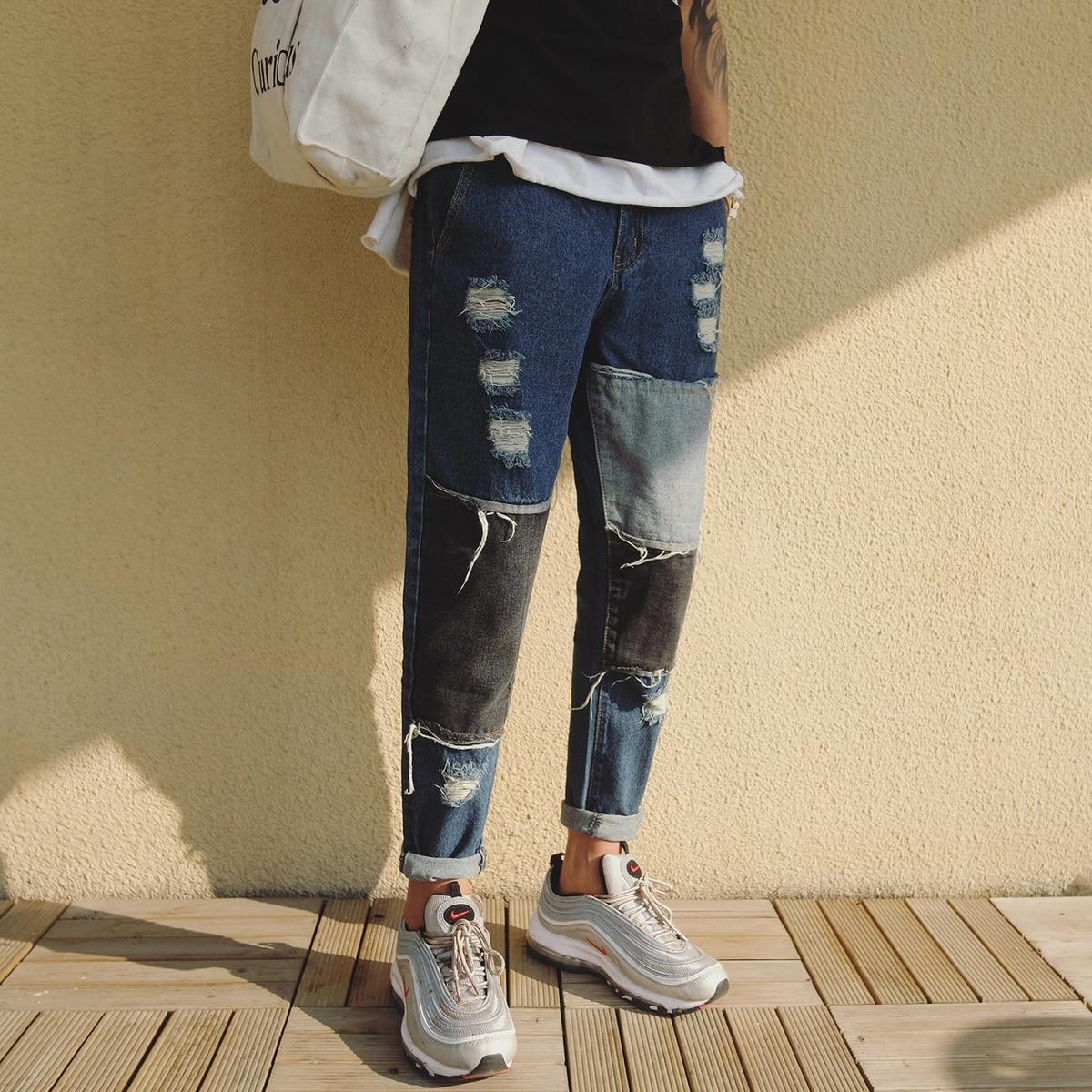 2018 Spring Newest Mens Fashion Korean Style Holes Patch Classic Stretch Slim Fit Denim Pants Blue Jeans Trousers Size 28-34