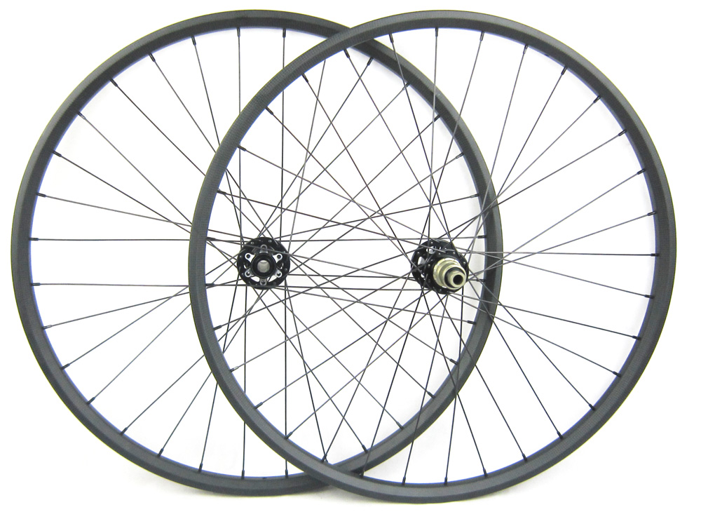 EN Test 29er Full Carbon MTB Wheels 25mm Deep Clincher Mountain Bike Wheelset for AM Hookless Rim 35mm Width 2.0 Round Spokes factory direct mountain bike clincher wheelset 29 inch 27 5er carbon mtb wheels 29er 650b carbon mtb wheels tubeless rims