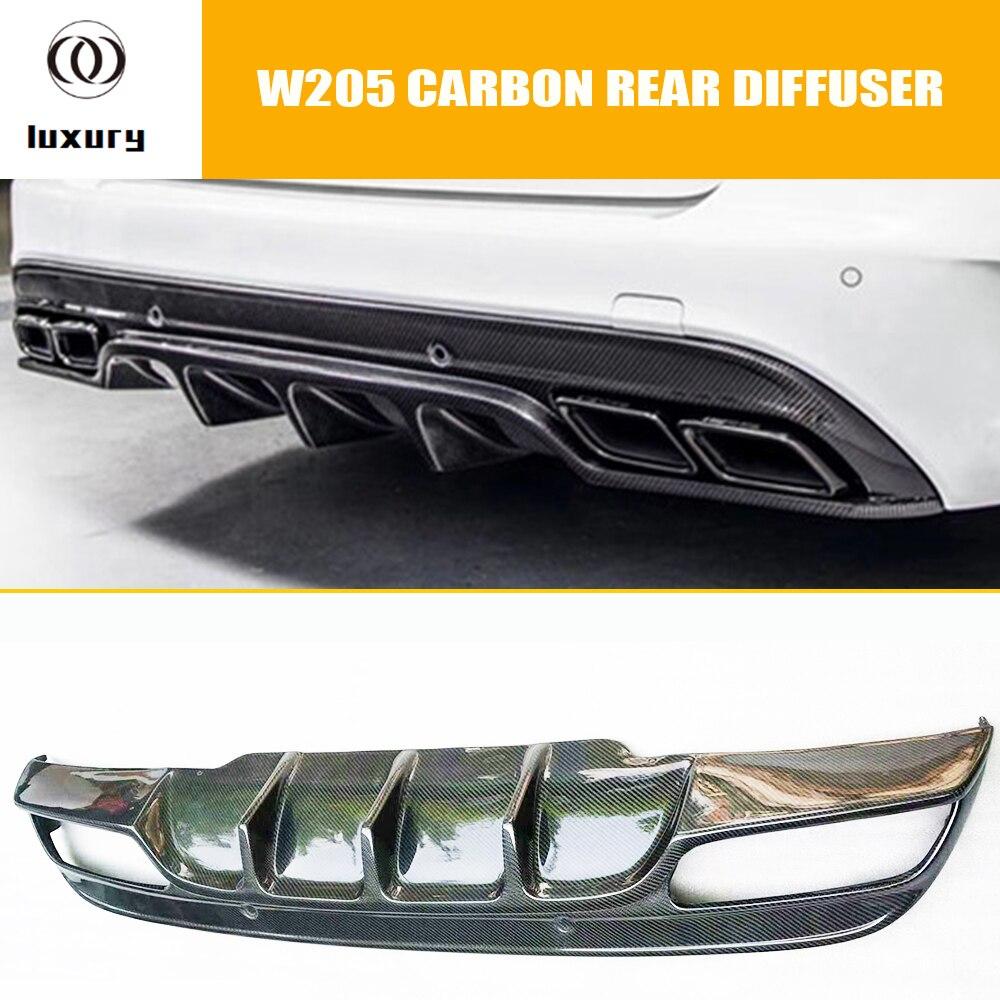 Diffuseur de pare-chocs arrière en Fiber de carbone W205 pour Benz W205 classe C berline C180 C200 C300 C43 avec emballage AMG 2015-2020
