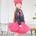 Sun moon kids tutu falda 17 colores floral lindo vestido de bola del bebé faldas de las muchachas del bebé recién nacido fotografía apoyos falda