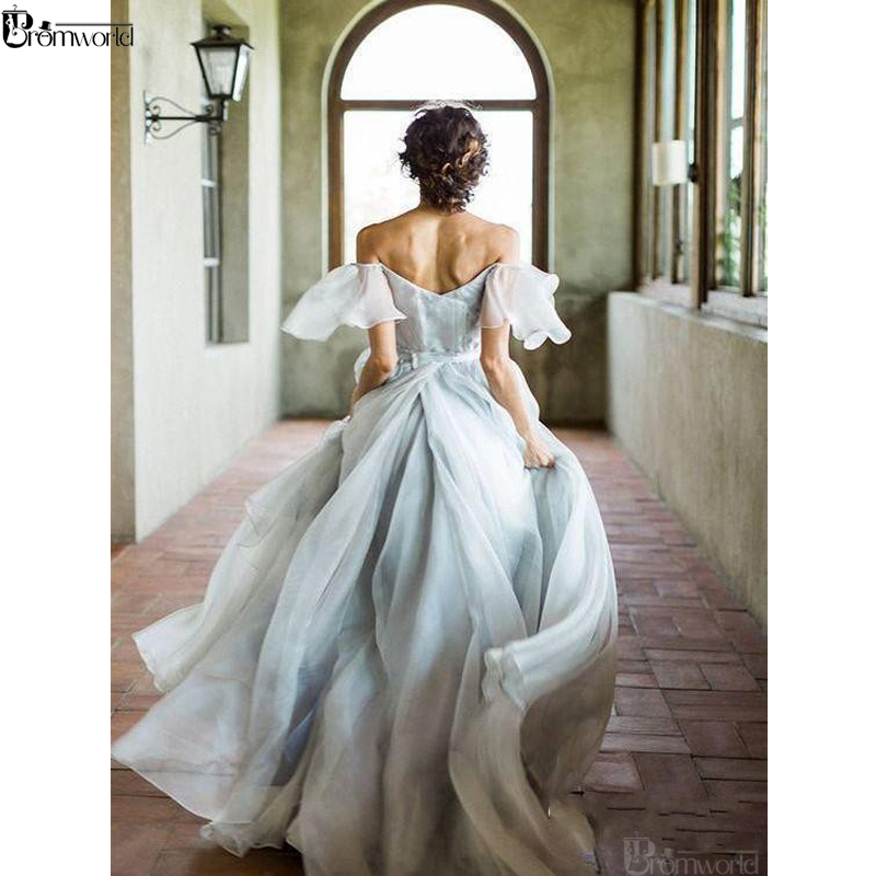 New Design Fairy Long Prom Dresses 2020 Off The Shoulder Chiffon Beach Party Maxys Vestidos De Gala Simple Long Prom Gown