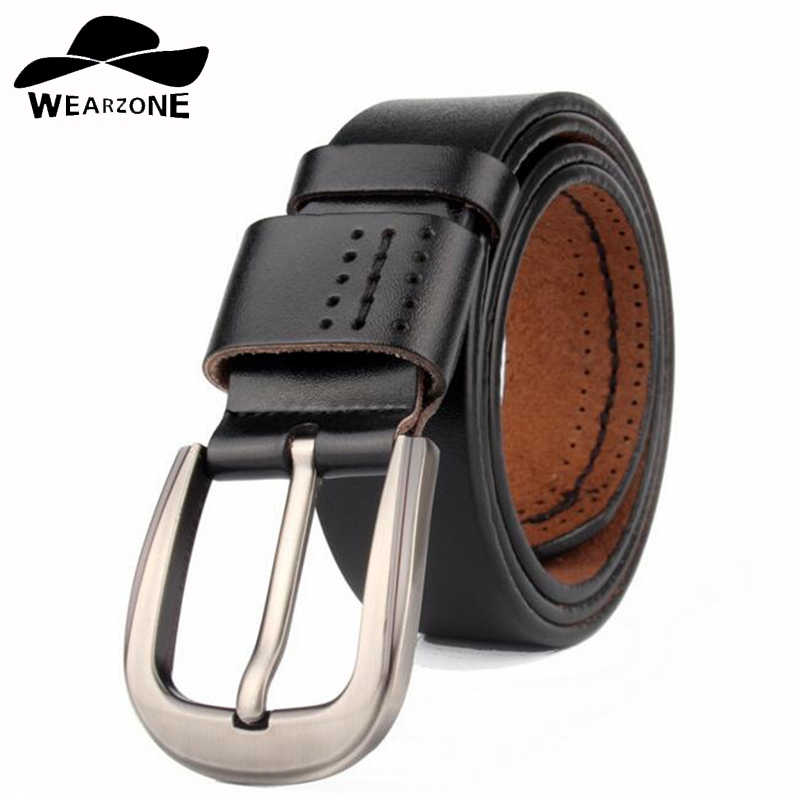 WEARZONE Designer Men Belts Genuine Leather Strap Male Pin Buckle Mens Wide Casual Belt for Jeans Ceinture Homme