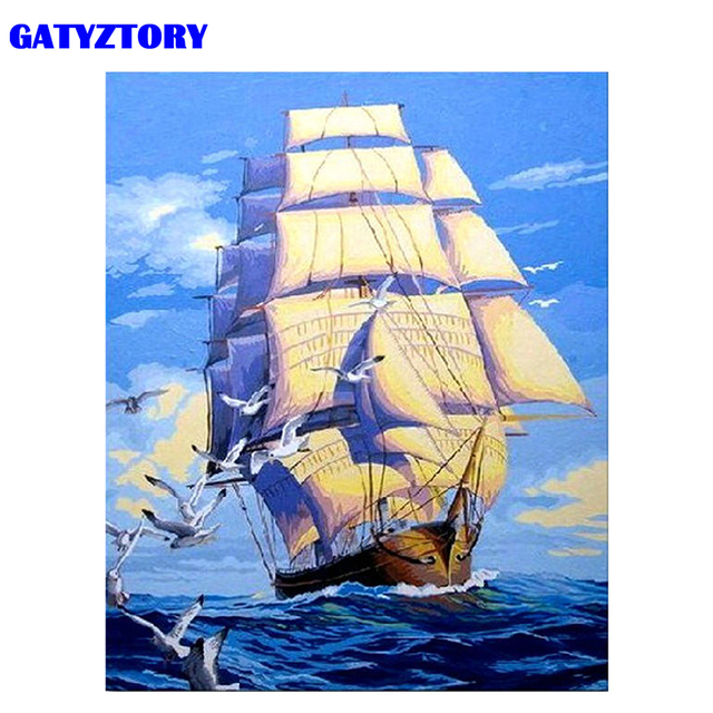 GATYZTORY Frame Sailing Boat DIY Painting By Numbers Acrylic Paint By Numbers Modern Wall Art Picutre Handpainted Oil Painting
