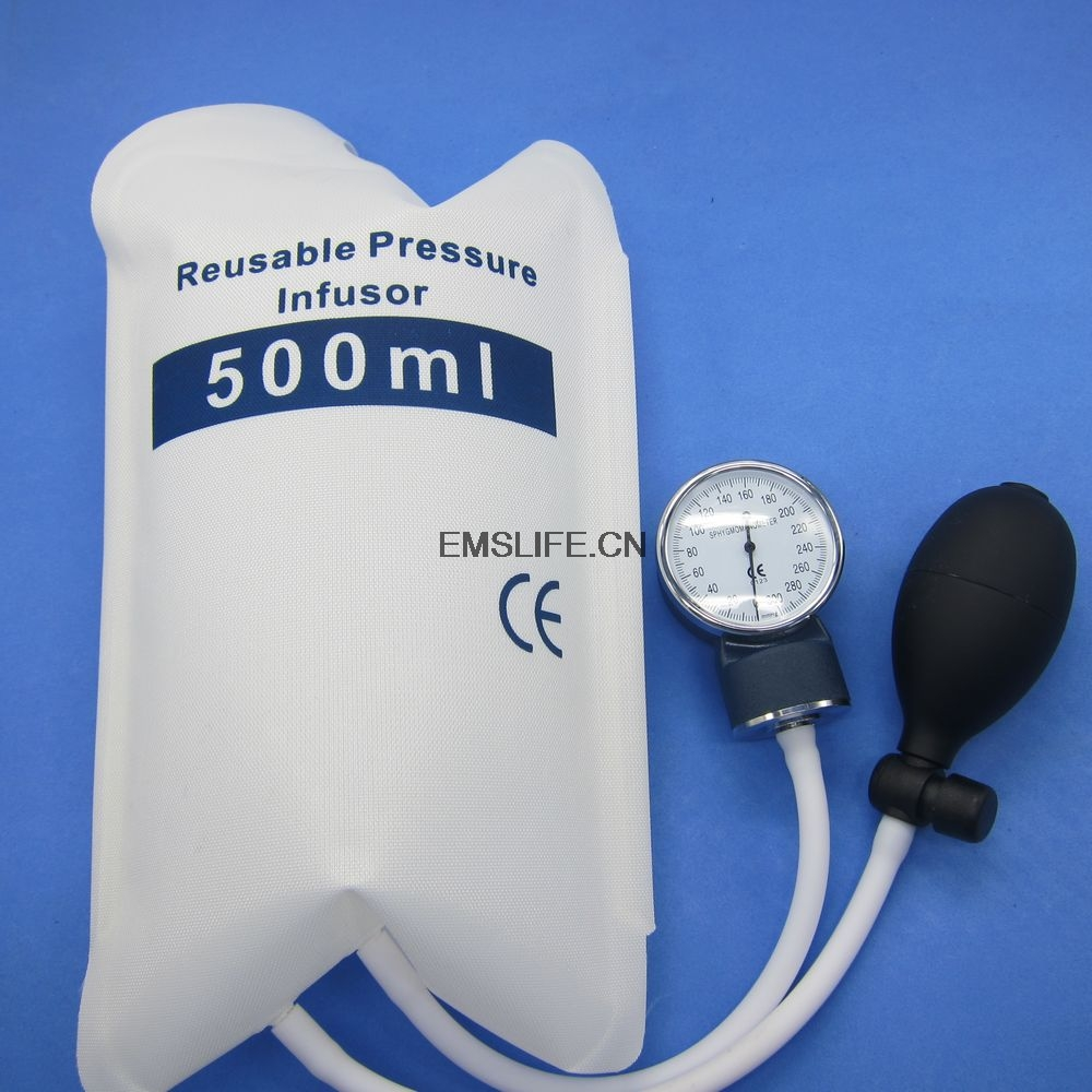 Medical pressure Infusion bag,QUALITY FLUID 500 ml with gauge 0 - 500 mbar and hand pump ball with spoon
