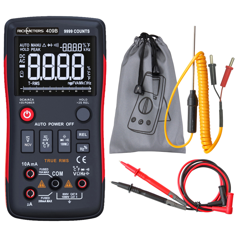 RM409B Digital Multimeter Button 9999 Counts With Analog Bar Graph AC/DC Voltage Ammeter Current Ohm Auto/Manual