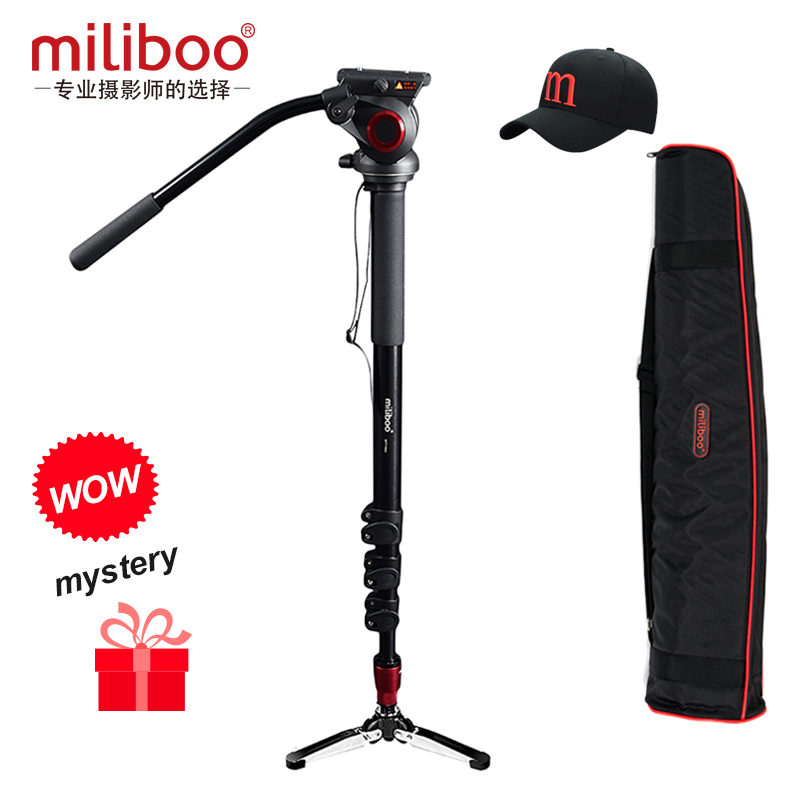 miliboo Professional Aluminum Portable T Camera monopod with Hydraulic Head tripod stand match with Manfrotto