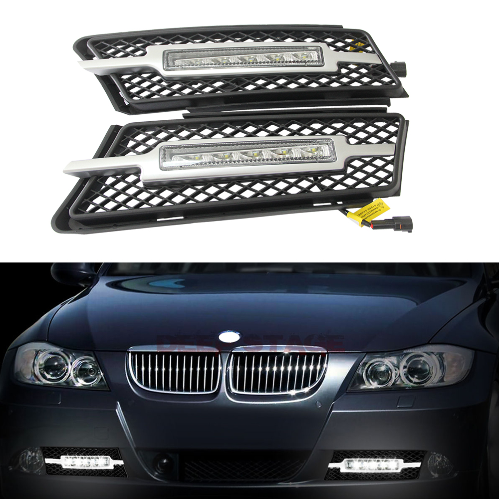 1:1 Replacement 5 Leds High Power Led Daytime Running Light DRL Kits FOR BMW 05-08 E90/E91 SMOKED BUMPER DRIVING FOG Light LAMP xenon white 12w high power led daytime running lights kit for bmw f10 m tech 6 leds driving light drl fog lamp with relay