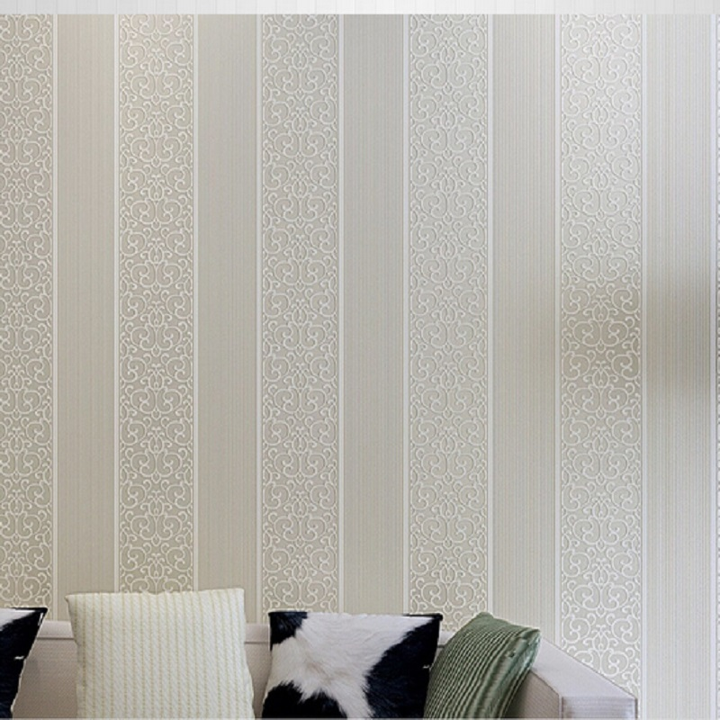 Hot selling Simple Style Surface Striped & vine Nonwoven wall paper 3D Wallpaper papel de parede decoration tapete wallpapers top quality fabric mural wallpaper modern striped flock wall paper papel de parede tapete bedroom white beige coffee 53x1000cm