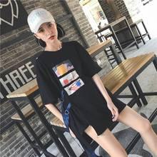 2019 Harajuku Fashion Long T shirt Women Loose Tops Cool Printed HIP HOP Dance Clothes Tee Summer Shirt