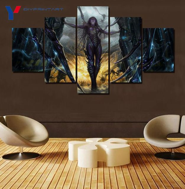 StarCraft 2 Heart of The Swarm Game Poster 5 Panels Art Painting Living Room Decoration A0096 3