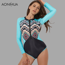 AONIHUA 2018 Geometric patchwork bodysuit One Piece Surfing Swimsuits Women Front zipper Long sleeve Rash Guards swimwear