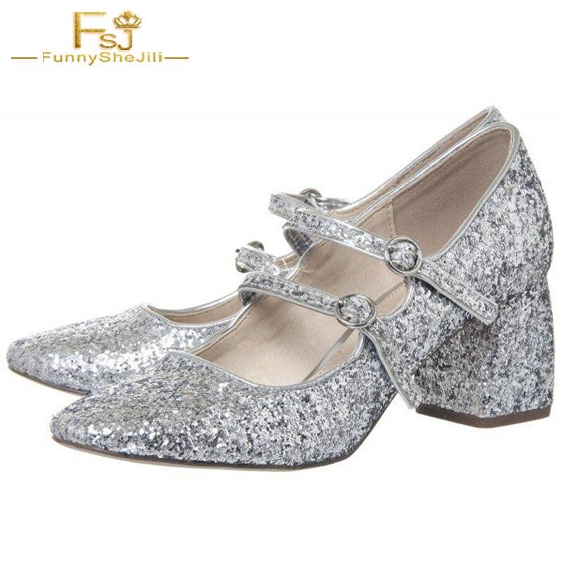 FSJ Women Shoes Ladies PumpsSliver Block Heel Glitter Mary Jane 2018 Spring  Autumn Big Shoes Size 62cf7b2e46b7