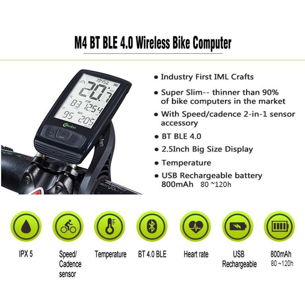 Ordinateur de vélo sans fil compteur de vitesse de vélo Tachymètre Cadence + Vitesse Capteur Météo SETB avec bluetooth moniteur de fréquence cardiaque - 2