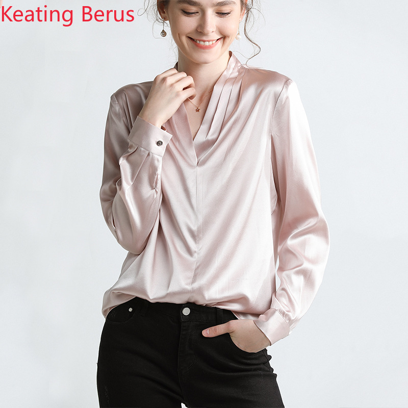 Chemise femme haut de gamme soie soie couleur unie chemise femme chemise Sexy col en v chemise de banlieue manches longues vêtement femme 0881